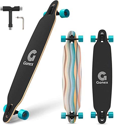 Gonex Longboard Skateboard, 42 Inch Drop Through Long Board Complete 9 Ply Maple Cruiser Carver for Girls Boys Teens Adults Beginners, Ocean Blue