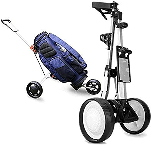 Carrito de Golf CUBO compacto plegable mango ergonómico pulsar carro de golf 3 ruedas, carro de púas de golf con titular de scorecard, soporte para bebidas, titulares de bolas, fácil de abrir cerca