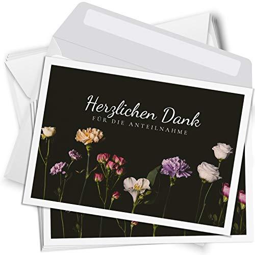 Trauer Danksagungskarten mit Umschlag   Motiv: Blumen schlicht, 15 Stück   Dankeskarten DIN A6 Set   Trauerkarten Danksagung Danke sagen
