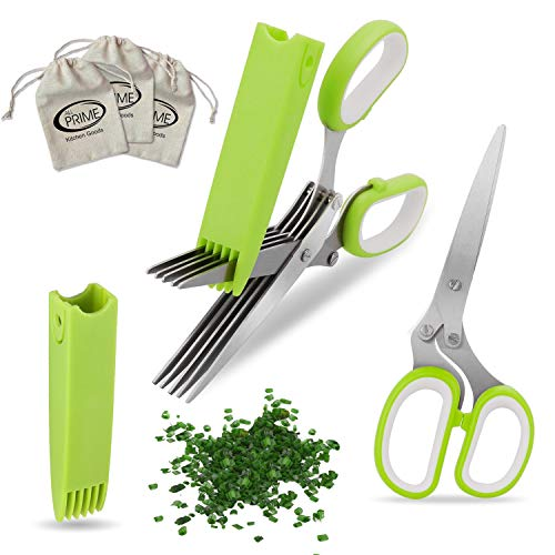 All Prime Herb Scissors - Also Included 3 FREE Herb Pouches ($6 Value) - Includes Protective Guard Cover & Blade Cleaner - One of Best Kitchen Gadgets