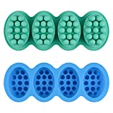 2 Pcs Silicone Massage Bar Soap Molds - SJ Silicone Molds for Soaps Making, Handmade Soap Molds, Nonstick & BPA Free (Blue & Mint Green)