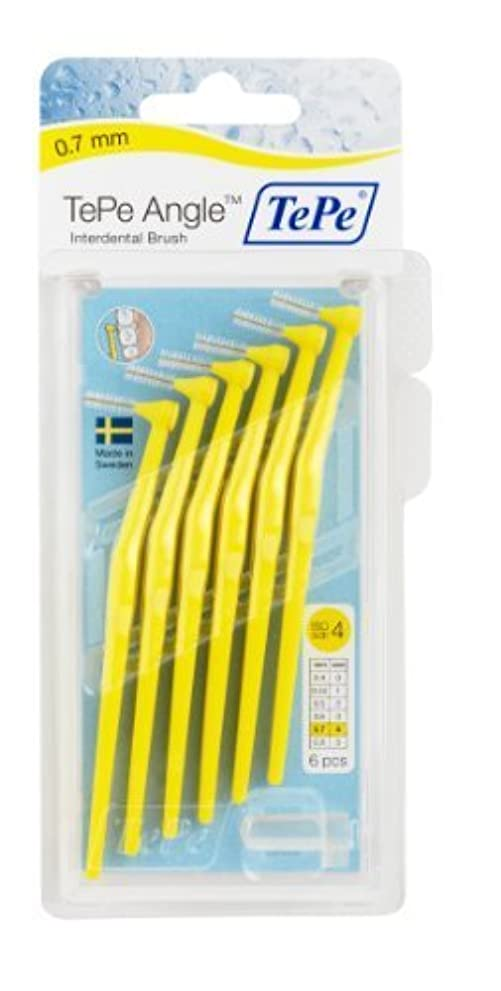 チャレンジ真似るキャンドルTePe Interdental Brush Angle - Yellow 0.7mm by TePe Munhygienprodukter AB, Sweden [並行輸入品]
