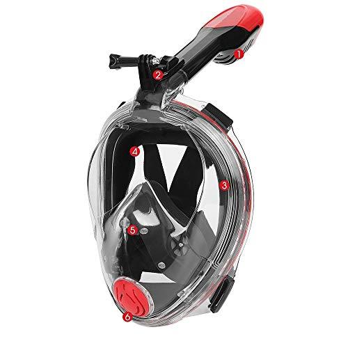 Helmets Máscara de Buceo,Plegable Máscara Snorkel,con Soporte para cámara y Campo de visión antivaho de 180 ° para Unisex Adultos