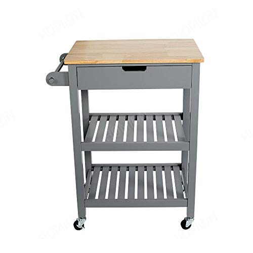 3 Tiers Kitchen Cart Island Rolling Dining Wooden Trolley Storage Cabinet...