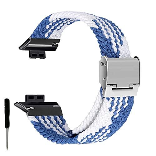 Correa de Reloj para Watch FIT Correa elástica Trenzada Ajustable Correa de muñeca Correa de liberación rápida (Band Color : Blue White, Band Width : Hua Fit)