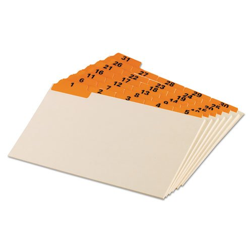 Oxford Products - Oxford - Laminated Index Card Guides, Daily, 1/5 Tab, Manila, 5 x 8, 31/Set - Sold As 1 Set - Great for organizing, desktop referencing and managing follow-up files. - Pre-printed laminated tabs. - Durable card stock.