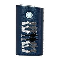 glo グロー グロウ 専用 レザーケース レザーカバー タバコ ケース カバー 合皮 ハードケース カバー 収納 デザイン 革 皮 BLUE ブルー ユニーク 人物 シンプル 002604