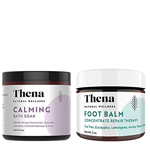 THENA Calming Bath Therapy Soak and Tea Tree Oil Antifungal Cream Extra Strength Bundle