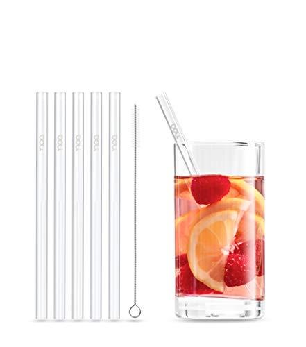 Doli Glas Strohhalme - wiederverwendbar und spülmaschinenfest - 5 STK. Glas Trinkhalme - Verschiedene Größen für Cocktails und Smoothies