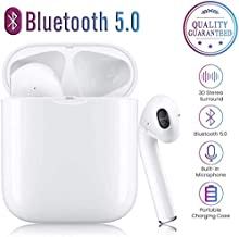 Bluetooth Earbuds, Bluetooth 5.0 Wireless Earbuds, Noise Canceling IPX5 Waterproof Sports Headset, Pop-ups Auto Pairing with Portable Charging Case for Smart Phones and Other Bluetooth Devices (White)