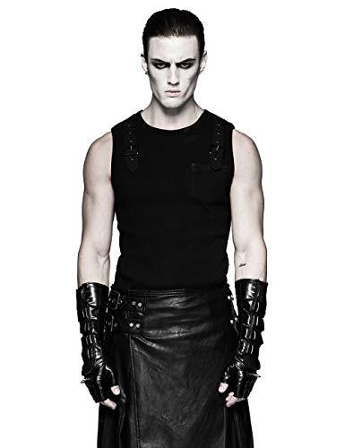Punk Rave negro gótico cuero remache largo sin dedos guantes para hombres