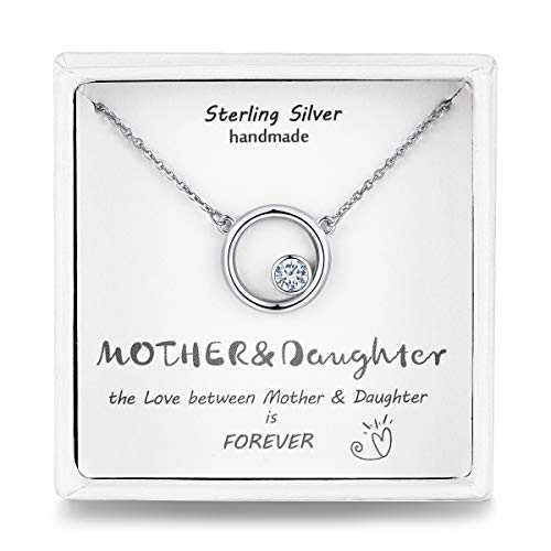 Qings Mum Pendant Necklace Extender 925 Sterling Silver Birthstone Necklace Christmas Day Gift for Daughter