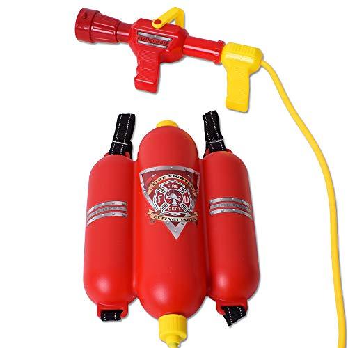 TE-Trend Feuerwehr Ausrüstung Feuerwehrschlauch Feuerlöscher Wasserspritze Wassertank Kinder Spritze Kinderspielzeug