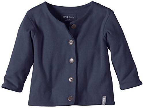 Lana Natural Wear Unisex - Baby Strickjacke Jacke Jule, Einfarbig, Gr. 80 (Herstellergröße: 74/80), Blau (Ombre Blue 571)