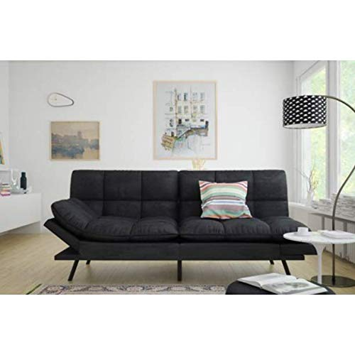 Mainstay' Wooden Frame Memory Foam Split seat and Back Futon with Christmas Bundle, Black Suede