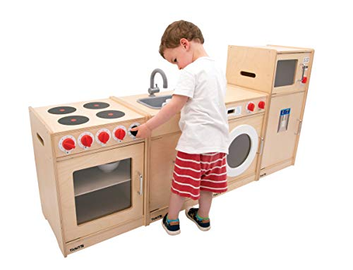 TickiT Wooden 5 Feature Toddler Kitchen - Cooker, Sink, Washing Machine, Fridge and Microwave - Natural Play Kitchen - Retro Style - Ideal for...