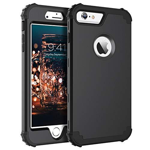 Bentoben - Custodia per iPhone 6s Plus, resistente e ibrida 3 in 1, ibrida in PC duro + silicone molle resistente, antiurto, per iPhone 6 Plus 6S Plus (5,5 ), colore: Nero