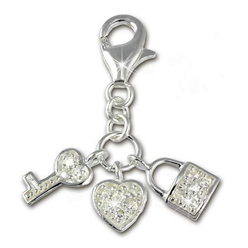 SilberDream Charm 925 Silber Anhänger weiß Herz Schlüssel Zirkonia FC224W