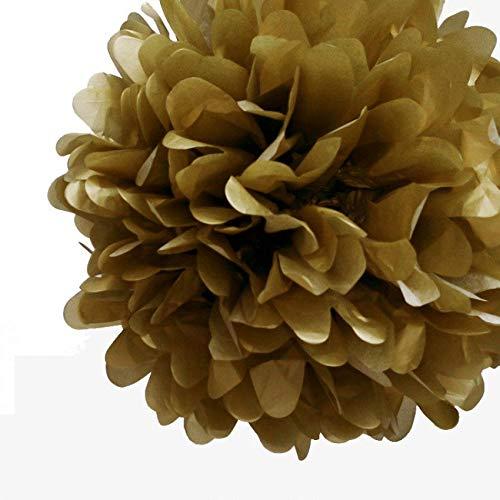 "Quasimoon PaperLanternStore.com EZ-Fluff 12"" Copper Tissue Paper Pom Poms Flowers Balls, Hanging Decorations (4 Pack)"