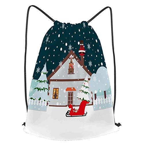 Unisex Wasserdicht Kordelzug Rucksack Der Weihnachtsmann steckte den Schornstein auf den Schnee Turnbeutel Sporttasche für Yoga Freien Schule Strand Schwimmen