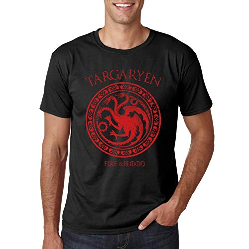 Targaryen Fire and Blood - Camiseta Negra Manga Corta (XXL)
