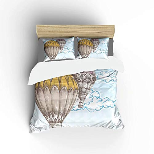 FlowerFish Hot Air Balloons in The Blue Sky Ultra Soft Bed Set Lightweight Brushed Microfiber Fabric Bedroom Decor Best Gift for Bedroom -1Duvet Cover + 2Pillowcases, Queen Size