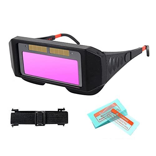YGXS Gafas de Soldadura con oscurecimiento automático, oscurecimiento automático Solar Gafas Protectoras para Soldador con Correa para la Cabeza y 18 Piezas Protectoras