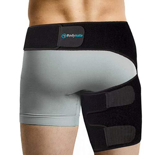 BODYMATE Compression Brace for Hip, Sciatica Nerve Pain Relief Thigh Hamstring, Quadriceps, Joints, Arthritis, Groin Wrap for Pulled Muscles, Hip Strap, Sciatica Brace/SI Belt for Men, Women