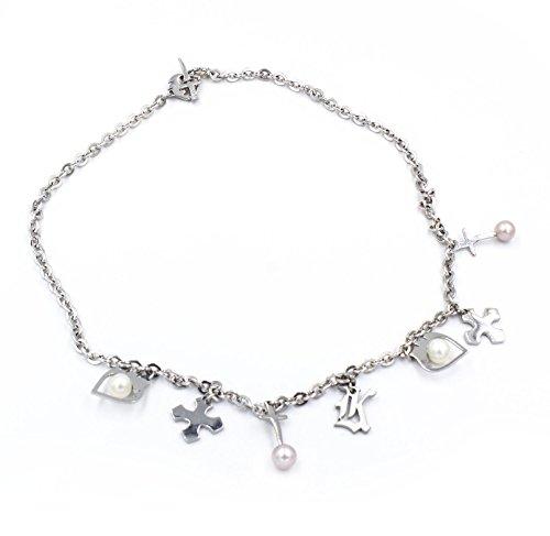 KRIS Collana Donna in Acciaio con Perle d'acqua dolce e charm