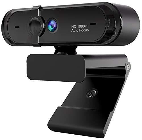 Moskee Full-HD 1080P Webcam mit Mikrofon, Autofokus, Abbdeckung, Belichtungskorrektur, USB-Anschluss, PC Kamera für Videochat und Aufnahme, Live-Streaming, kompatibel mit Windows, Mac und Android