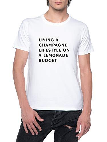 Living A Champagne Lifestyle On A Lemonade Budget Herren T-Shirt Weiß Rundhalsausschnitt Mens T-Shirt White