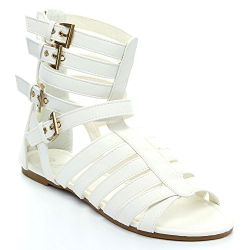 Ralph Lauren Glamourous Nana-503 Women's Multi Strappy Buckle Back Zip Flat Gladiator Sandals,White,7