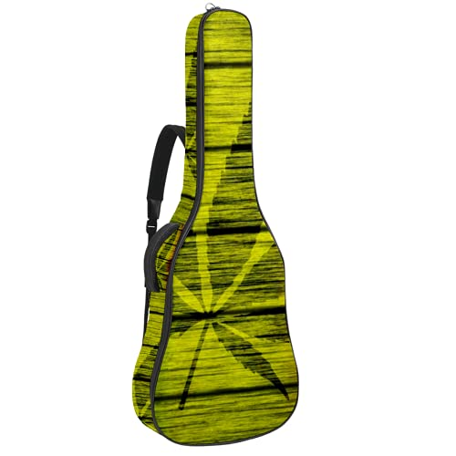 Wood Rasta Flag With Marijuana Leaf Electric Guitar Bag 0.35 Inch Thick Padding Waterproof Dual Adjustable Shoulder Strap Guitar Case Gig Bag