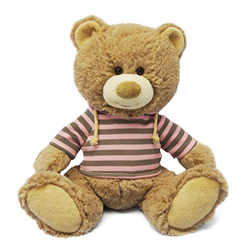 WEIGEDU Teddy Bear Stuffed Toy with Pink Striped Clothes Casual, Teddy Bear Plush Stuffed Animal Toys for Girls Kids Birthday Gift, 8.7' Brown