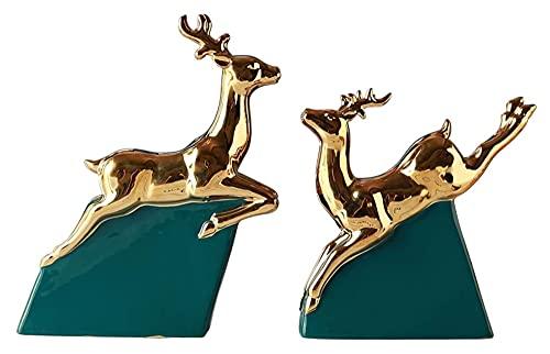 Escultura de escritorio Ciervos de cerámica Estatua de animales Escultura de animales Decoración del hogar Artesanía Decoración Feng Shui Ciervos Figuras ACCESORIOS ACCESORIOS FIGURINES