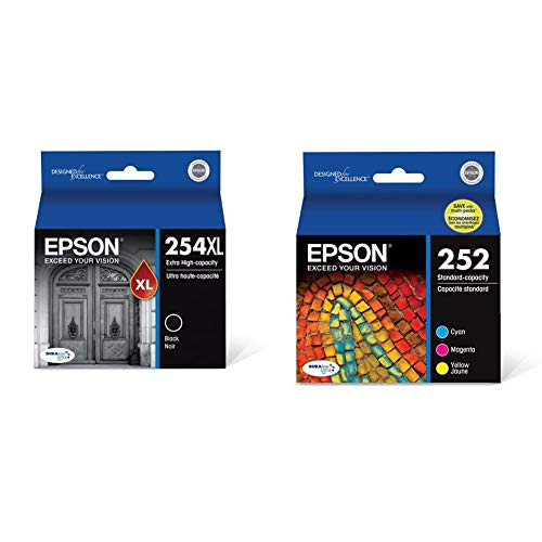 Epson T254XL120 DURABrite Ultra Black Extra High Capacity Cartridge Ink & T252520 - Ink Cartridge - Color Combo Pack - DURABrite Ultra Standard Capacity - Prime Eligible