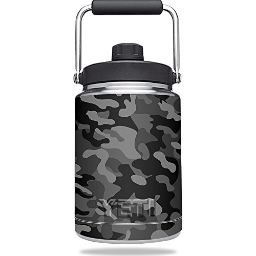 MightySkins Skin Compatible with YETI Rambler Half Gallon Jug - Black Camo | Protective, Durable, and Unique Vinyl Decal wrap Cover | Easy to Apply, Remove, and Change Styles | Made in The USA