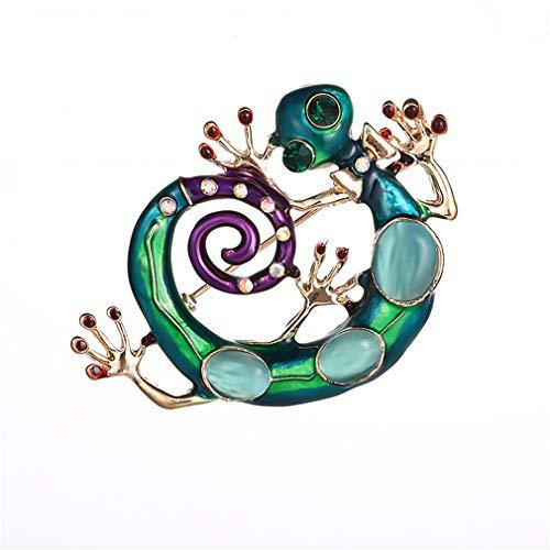 YAZILIND Personalidad pechugla Color pedrería aleación Pintura Aceite pequeño Gecko Broche alfiler...