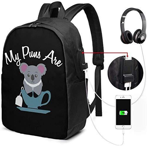 LONGJIN Mochila con Interfaz USB My Puns Are Koala Tea Waterproof Laptop Backpack with USB Charging Port Headphone Port Fits 17 Inch Laptop Computer Backpacks Travel Daypack School Bags for Men Women