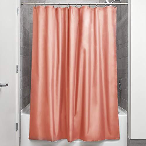 iDesign Duschvorhang aus Stoff | wasserdichter Duschvorhang mit verstärktem Saum | waschbarer Textil Duschvorhang in der Größe 183,0 cm x 183,0 cm | Polyester korallefarben