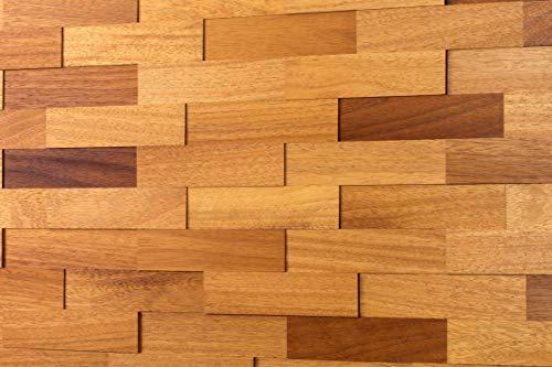 wodewa Wandverkleidung Holz 3D Optik Iroko 1m² Wandpaneele Moderne Wanddekoration Holzverkleidung Holzwand Wohnzimmer Küche Schlafzimmer Geölt