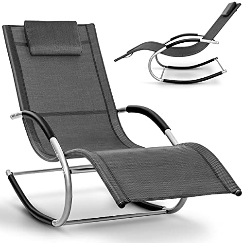 tillvex Relaxliege Gartenliege faltbar | Liegestuhl wetterfest | Schwungliege 150 kg Belastung | Sonnenliege atmungsaktiv (Anthrazit)