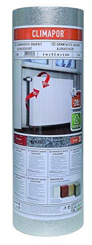 Climapor Isolant GRAPHITE contrecollé alu sous papier peint, rouleau, 6 x 0,5 m x ~4 mm - PRIX SPECIAL LOT de 4 rouleaux (=12 m2)