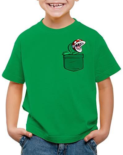 style3 Piranha Pflanze Brusttasche T-Shirt für Kinder Mario Switch SNES, Farbe:Grün, Größe:116