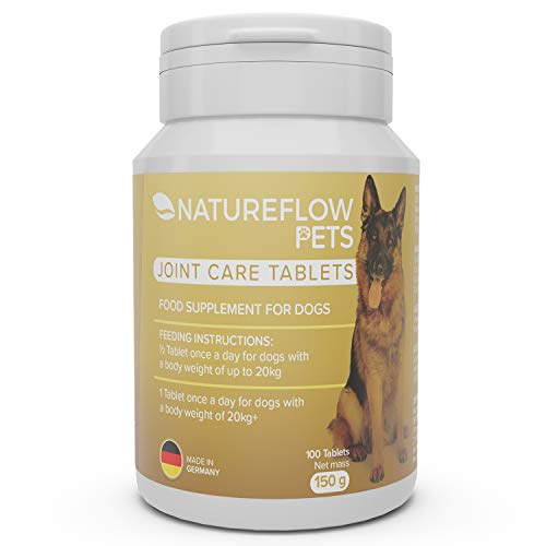 Natureflow Dog Joint Care Supplements Tablets w/Green-Lipped Mussel, MSM, Glucosamine & Devil's Claw - High Digestibility - 100 Tablets for up to 6 Months - Dog Joint Supplements Tablets Pets