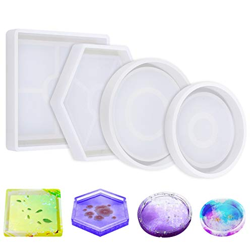 DIY Coaster Silicone Mold, Pack of 4 Resin Molds for Casting Eco-Friendly Sturdy Hexagon Square Round Mold Bottom Bracket for Casting with Resin,Concrete,Cement