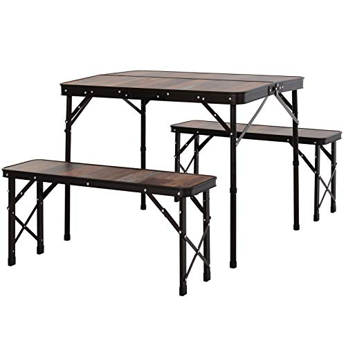 Outsunny Folding Table Chairs Picnic Portable Camping Dining Garden Patio BBQ Aluminium - Wood Colour