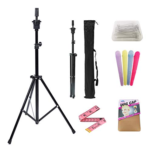 Wig Stand Tripod Adjustable Mannequin Head Stand for Canvas Head Styling Wig Head Stand for Making Wigs for Cosmetology Training Head Block Head