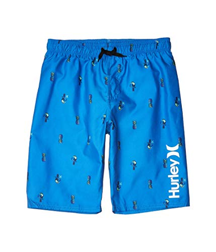 Hurley Kids Boy's Pineapple/Toucan Pull-On Boardshorts (Big Kids) Pacific Blue LG (14-16 Big Kids)