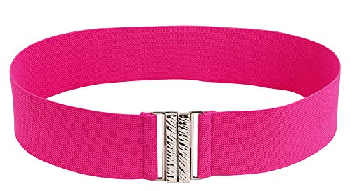 Modeway Women Wide Elastic Belt Cinch Belt Ladies Cummerband (XL-XXL(34'-38'), Hot Pink)